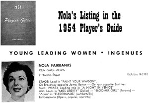 Listing in 1954 Players Guide